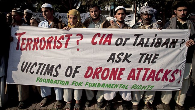 Pakistani tribal villagers hold a rally to condemn US drone attacks on their villages in border with Afghanistan, complaining innocent citizens have been killed in the attacks.