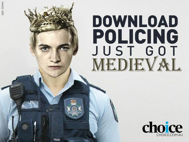 Consumer group Choice has released this image, which references a popular target for illegal downloading, Game of Thrones, as part of a campaign against the anti-piracy scheme.