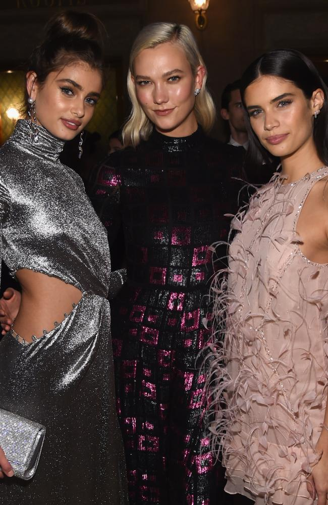 Sampaio, right, with Taylor Hill and Karlie Kloss, said the fashion industry 'desperately needs' to be made accountable. Picture: Jamie McCarthy/Getty Images/AFP