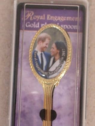 A spoon marking the engagement of Prince Harry and Meghan Markle. Picture: Supplied