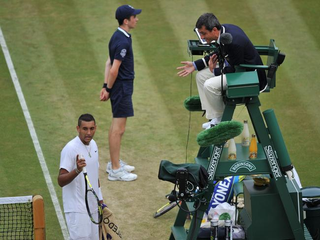 Australia's Nick Kyrgios argues with the umpire about a crucial line call.