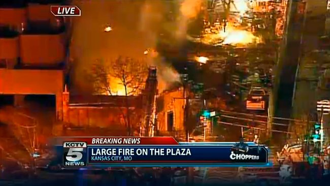 Firefighters battle a massive fire at the Country Club Plaza in Kansas City. Picture: AP/KCTV