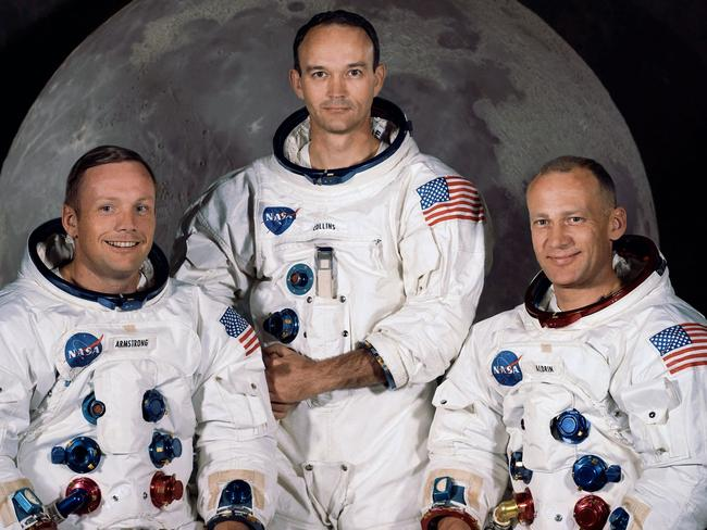 In this 1969 photo provided by NASA the crew of the Apollo 11 mission is seen. From left are Neil Armstrong, Mission Commander, Michael Collins, and and Edwin Eugene 'Buzz' Aldrin. Picture: Supplied