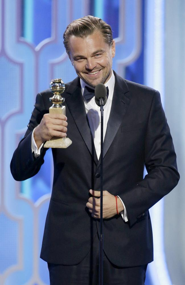 "Leonardo DiCaprio accepts the award for Best Actor - Motion Picture, Drama for ""The Revenant"" during the 73rd Annual Golden Globe Awards at The Beverly Hilton Hotel on January 10, 2016 in Beverly Hills, California. (Photo by Paul Drinkwater/NBCUniversal via Getty Images)"