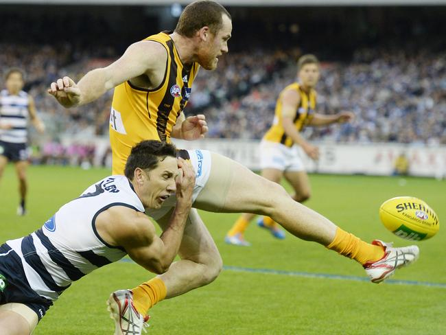 Harry Taylor tackles Jarryd Roughead in Round 5. Picture: Jason Edwards