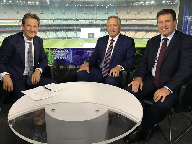 Mark Nicholas, Ian Healy and Mark Taylor in the Channel 9 commentary box