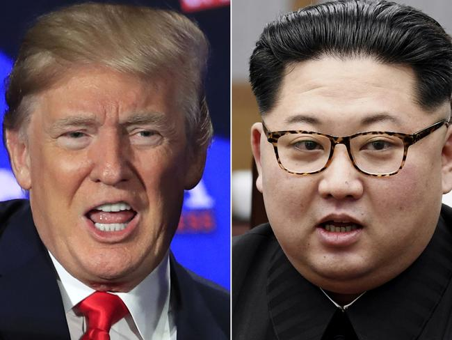 Donald Trump and Kim Jong-un will meet in Singapore in June. Picture: AP/Manuel Balce Ceneta, Korea Summit Press Pool via AP