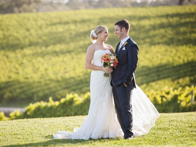 Liam Hunt and Elise Goddard on their wedding day at Longview Vineyard. Picture: Sievers Weddings