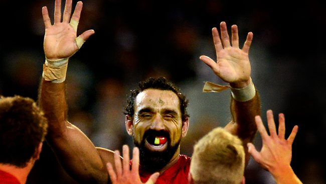 Adam Goodes celebrates a goal. Picture: Ludbey Wayne
