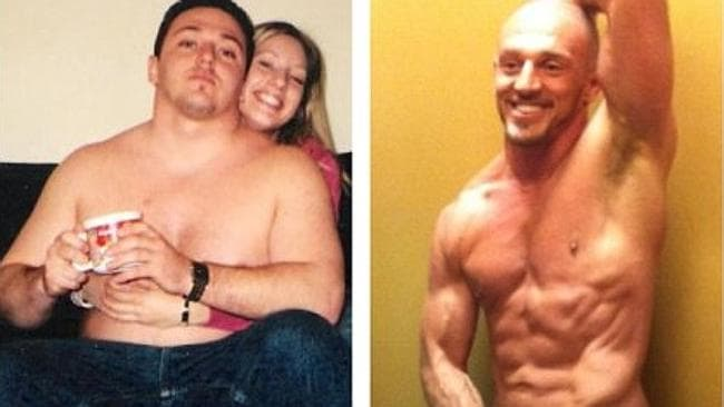 The 37-year-old now and before he began his lifestyle and diet regimine. Picture: UFCFIT