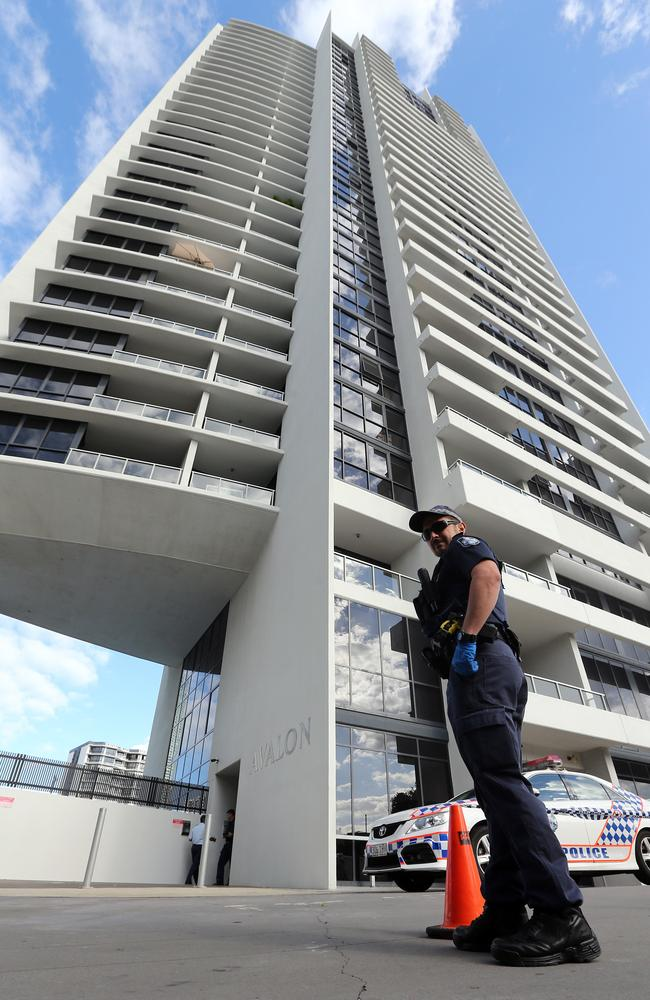 Police outside the Avalon building in Surfers Paradise, where the tragedy occurred in the early hours of Friday. Pic: Richard Gosling