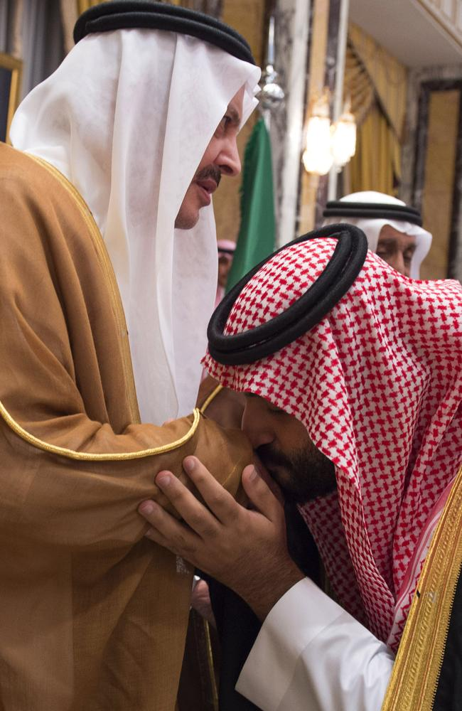 Royals pay homage to Crown Prince Mohammed bin Salman at the Royal Palace in Mecca after his father King Salman ousted the prince's rival, his cousin. Picture: SPA.