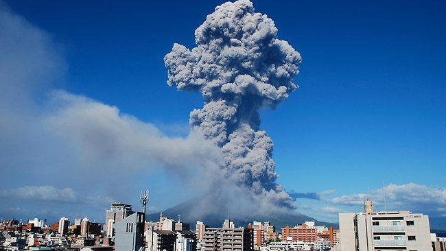 In this photo released by Kagoshima Local Meteorological Observatory, volcanic smoke billows from Mount Sakurajima in Kagoshima, on the southern Japanese main island of Kyushu.