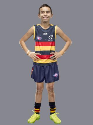 Wundarra as Adelaide Crows' star forward Eddie Betts. Picture: Supplied/NAB 2017 Mini Legends campaign