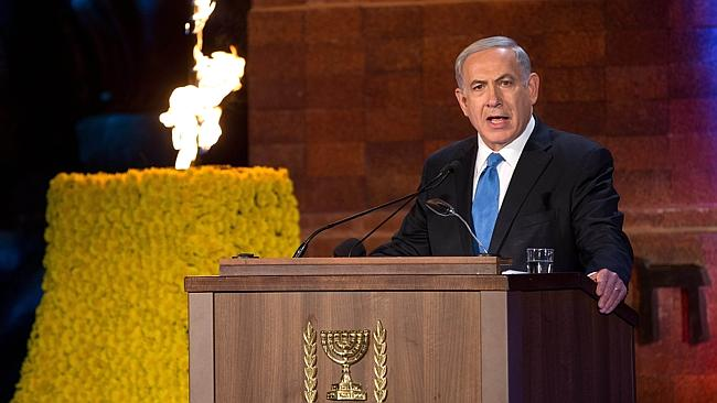 Israeli Prime Minister Benjamin Netanyahu delivers a speech during a ceremony marking the Holocaust Remembrance Day. Picture: AFP