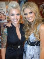 <p>Delta Goodrum catches up with Ruby Rose. Picture: Tony Gough</p>