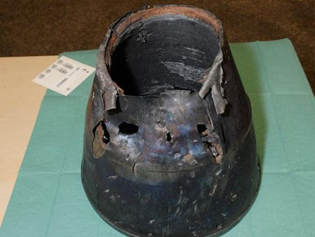 The exhaust of a BUK Missile which was discovered at the MH17 crash site. Picture: Joint Investigations Team report.