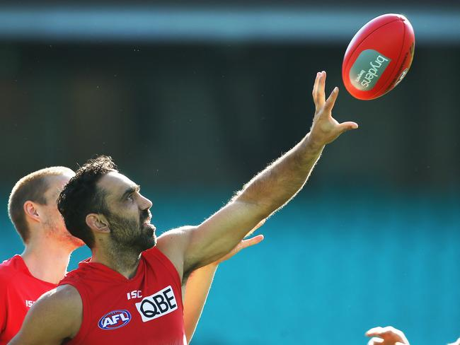 A favourite of AFL crowds generally ... Adam Goodes at Sydney Swans training at the SCG. Picture: Phil Hillyard
