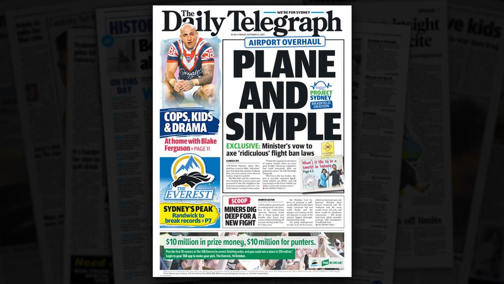 Tomorrow's Daily Telegraph... Friday, October 13.