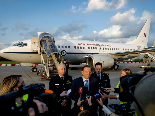 Prime Minister Tony Abbott answers questions upon his arrival in Rotterdam. Abbott is on a one-day visit to the Netherlands to discuss the progress of the investigation of flight MH17. Picture: Robin Van Lonkhuijsen