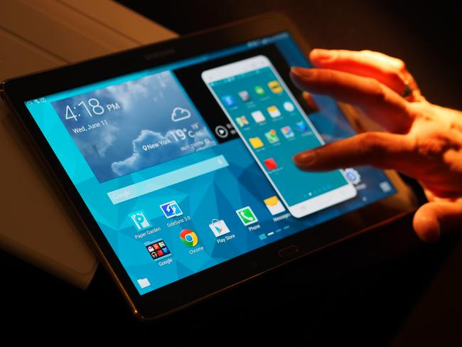 Taking on Apple ... Samsung's Galaxy Tab S tablet was launched in New York this year.
