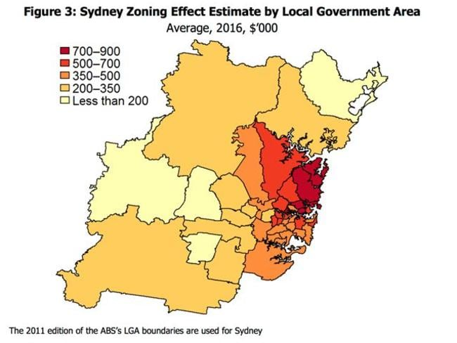 Developers would build towers on the red parts, where zoning restrictions have pushed land prices higher than they would be. Source: RBA