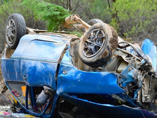 Single vehicle crash 35 klms north east of Mudgee , on wollar rd, locality of Munghorn, car came around slight declining right hand corner lost control. Two local teenage boys were reported in the vehicle with one life lost. FEES APPLY. MUST CREDIT COLIN BOYD.