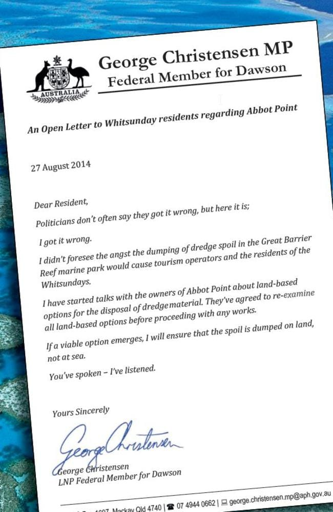 Letter that Dawson Federal MP George Christensen wrote, which was published in the local paper.