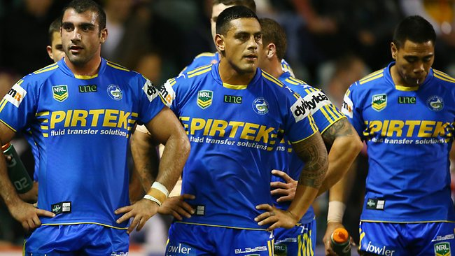 The Eels gather behind the try line after conceding another try in 2013. Picture: Mark Evans