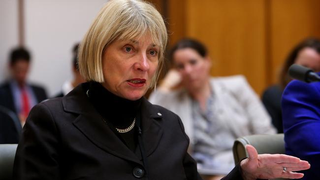 Former ASADA CEO Aurora Andruska appears at a Senate Estimates hearing.