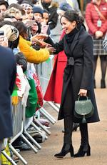 Meghan Markle meets well wishers as she arrives to a walkabout at Cardiff Castle on January 18, 2018 in Cardiff, Wales. Picture: Getty