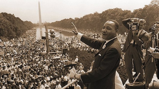 Scene from the German TV show 'Get Up Stand Up', Episode 1 'We Shall Overcome' showing Dr Martin Luther King Junior at the Lincoln Memorial for his 'I have a dream' speech during the march on Washington, 28/08/1963. Picture: Supplied