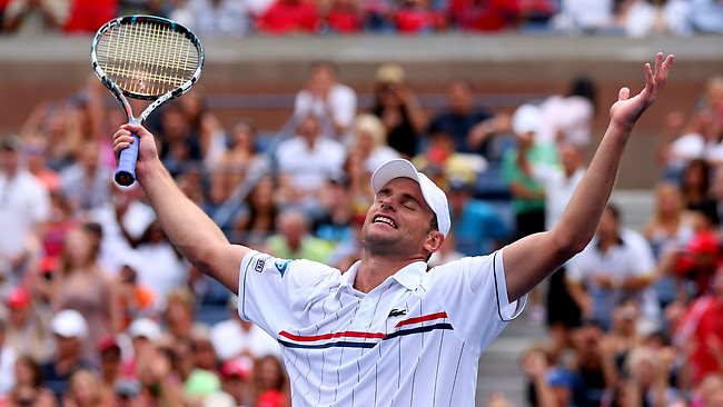Andy Roddick delayed his retirement by at least one more match after a comfortable win over Fabio Fognini.
