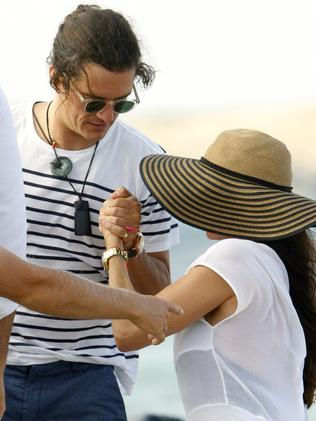 Ex swap ... Orlando Bloom and Erica Packer boarding a yacht in Formentera, Spain, earlier this month. Picture: Splash News