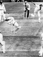<p>Dennis Lillee lets another thunderbolt fly during World Series Cricket.</p>