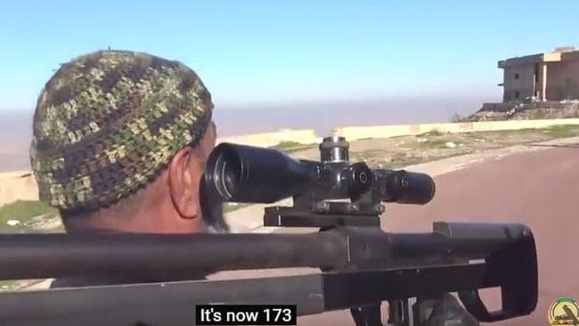 Abu Tahseen reveals the number of Islamic State militants he has shot. Picture: YouTube