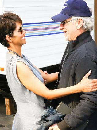 Convincing ... Halle Berry and Steven Spielberg on location for Extant. Photo: Robert Voets/CBS