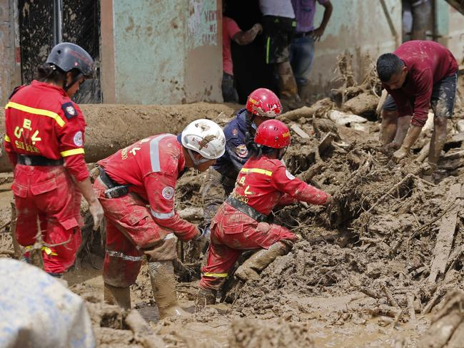 Rescuers search for survivors in Mocoa, Colombia. Picture: AP
