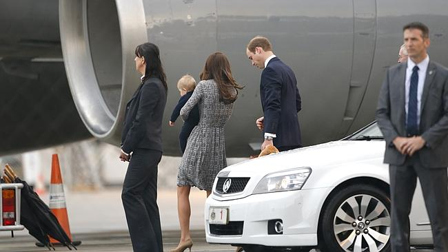 Prince George, along with parents, Kate & William arrive in Sydney Australia on a Qantas flight QF2 from London. After their transfer they boarded a New Zealand Air Force plane to head to New Zealand. Picture: Bradley Hunter