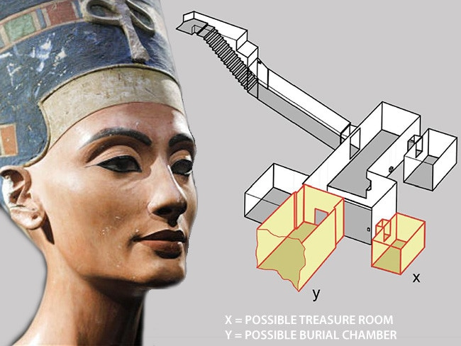 The inferred location of possible concealed chambers inside Tutankhamun's tomb. Source: Nicholas Reeves