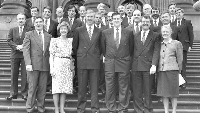 Jeff Kennett with his Liberal team in 1992.