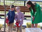 Catherine, Duchess of Cambridge and Prince William, Duke of Cambridge watch two children help them with a tree planting as they visit the National Arboretum in Canberra. Picture: Getty