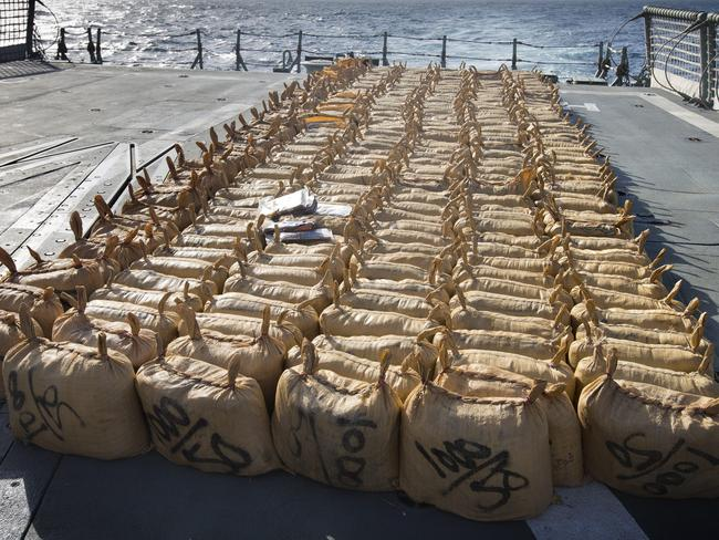 Before being destroyed ... Hashish was contained in 306 hessian bags each containing approximately 20 one kilogram coffee bags, a sample of which can be seen here on HMAS Darwin.