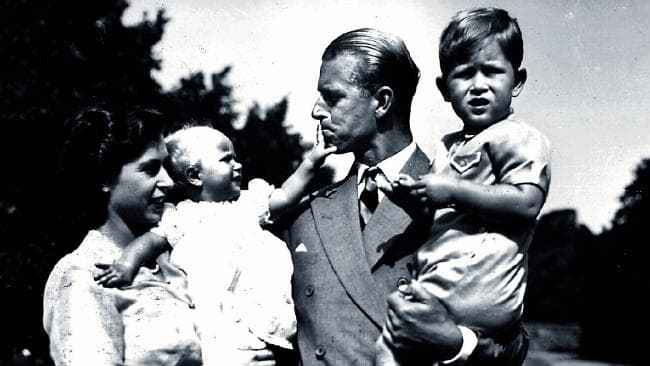 A young Queen Elizabeth with Prince Philip and their children, Princess Anne and Princes Charles. Source: News Limited