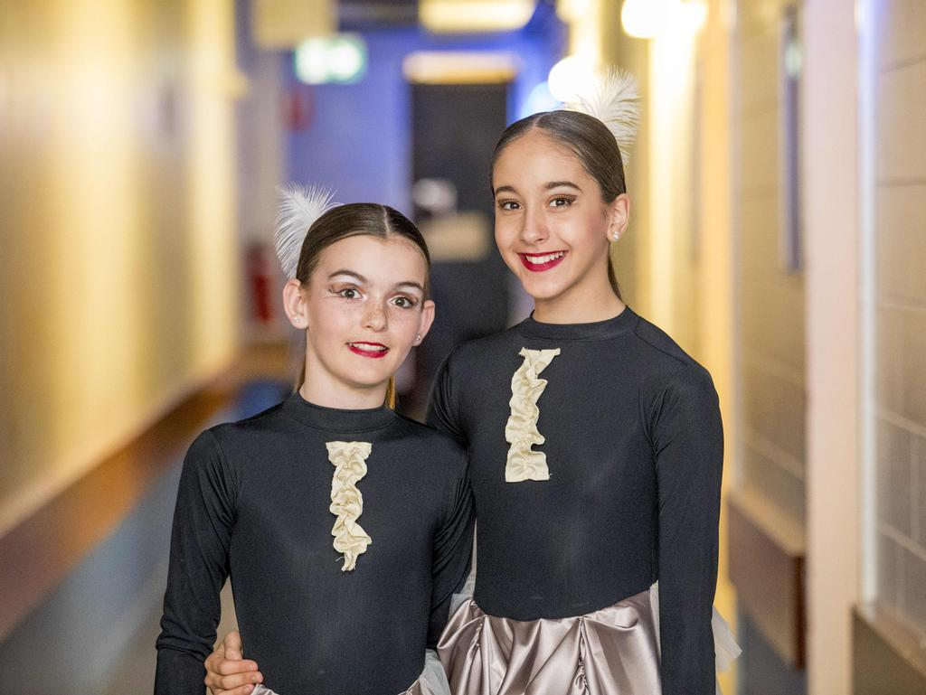 Charlotte White, 11, and Emma Blake, 13, performing at the Gold Coast Eisteddfod at the Gold Coast Arts Centre, Bundall, on Sunday. Picture: Jerad Williams
