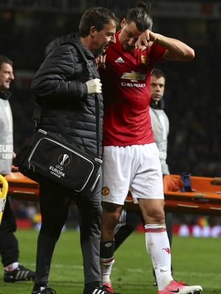 Ibrahimovic leaves the field.