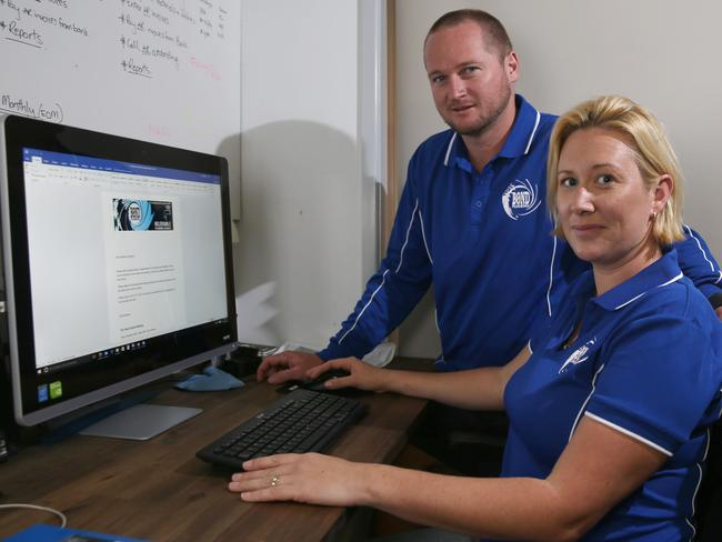 Amanda and Ryan Bond of Bond Plumbing were victims of online scammers who used 'ransomware' to hack into their computer and encrypt all their data. Photo: Regi Varghese