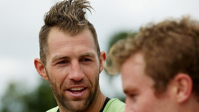 Travis Cloke sports a new hair-raising style at Olympic Park. Picture: Colleen Petch
