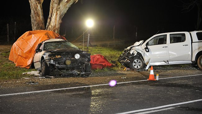 Four people died in this two-car collision at Padthaway, on the Riddoch Highway in the south-east, in June 2011. Picture: Campbell Brodie