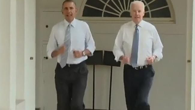 Cutting laps ... President Obama and Vice President